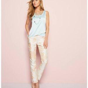 Calvin Klein Floral Print Metallic Pants Size 10 P